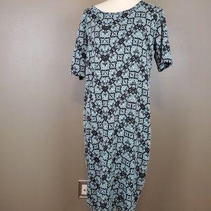 "LuLaRoe ""Julia"" Black & Mint Dress Size 2XL"